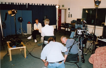 The crew prepares for Lucy Fleming's on-camera interview