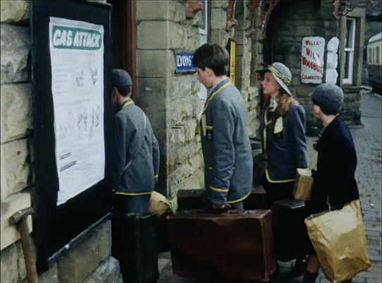 Carries' War - the evacuees leave the station to be assigned to their new homes (Highley station)