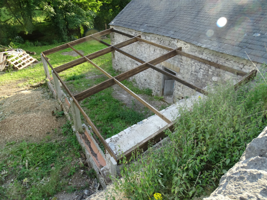 The lean-to roof at Upperdale House, Monsal Dale, being repaired - July 2015