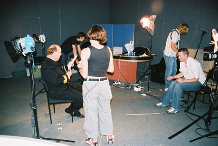 Survivors actor Stephen Dudley in between interview takes