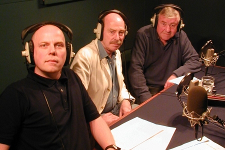 Denis Lill and Pennant Roberts, with moderator Rich Cross, record the episode commentary