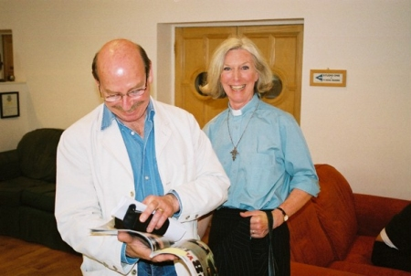 Denis Lill and Lorna Lewis share a joke prior to their press interviews