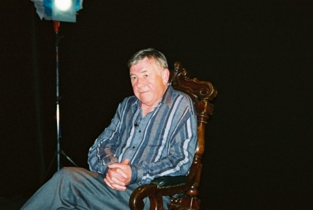 Pennant Roberts in the studio preparing for his on-camera interview