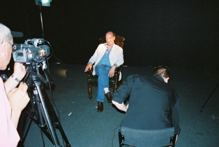 Denis Lill in the studio during the recording of his on-camera interview