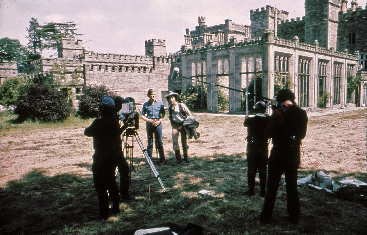 Ian McCulloch (Greg, left) and Chris Tranchell (Paul, right) rehearse a scene from The Future Hour, in the grounds of Hampton Court - some time between 20-24 May 1975