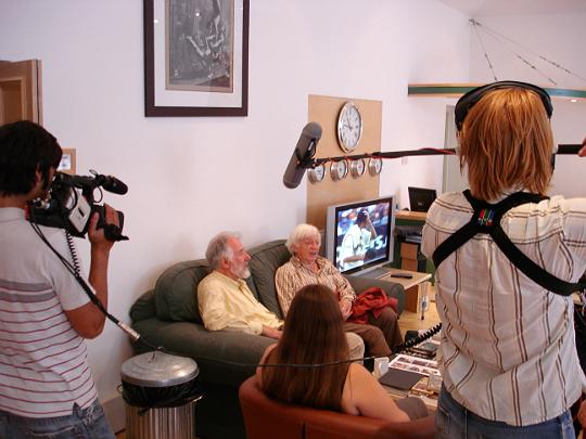 Survivors director Tristan de Vere Cole and Morris Perry at the Survivors series three DVD studio day, August 4 2005
