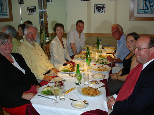 The participants break for lunch at the Survivors series three DVD studio day, August 4 2005
