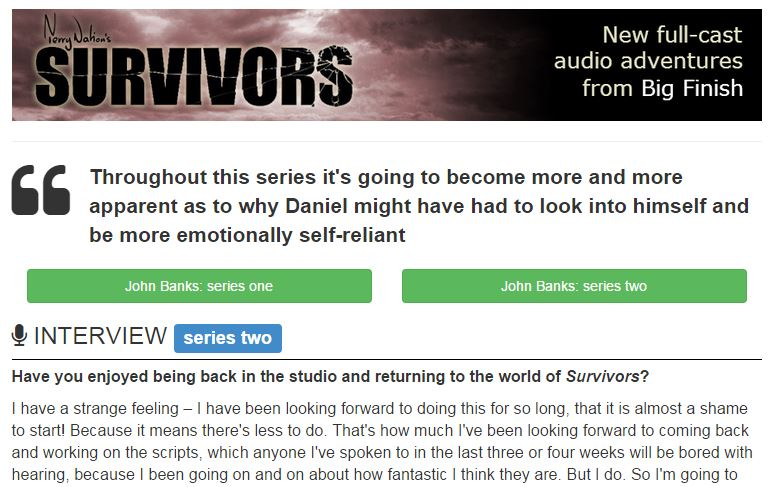 John Banks - Big Finish - Survivors - series two - interview