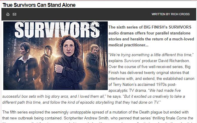 Starburst - Big Finish - Survivors - series six - preview - online